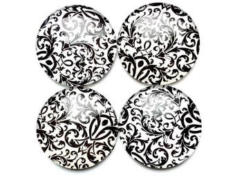 Glass Magnets - damask magnets  - black and white - office magnets - office supplies - magnet boards