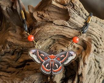Cecropia Moth Necklace - Acrylic Charm Moth Necklace