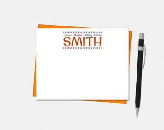 Personalized Family Note Cards - Flat Notecards - Custom Family Stationery | fun cute mom dad kids name