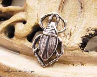 Antique Silver Ox Scarab Connector Links, Egyptian Beetle Insect Pendant Charms 17x10mm Aged Patina - 4