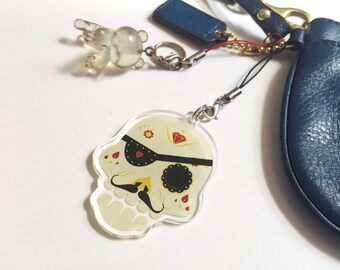 Pirate Sugar Skull Keychain by Odds And Aliens