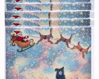 6 x Border Collie dog Christmas cards - Trailing Clouds of Magic