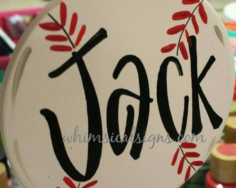 Baseball ornament, Christmas ornament....hand lettered, ceramic, double sided, QUICK TURNAROUND