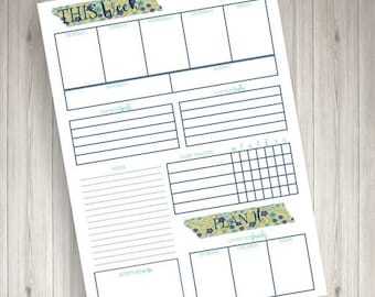 Mint Floral Planner - Weekly
