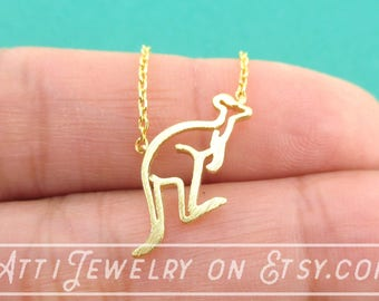 Kangaroo Outline Shaped Pendant Necklace in Gold | Handmade Animal Jewelry
