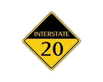 INTERSTATE 20 Highway Metal Aluminum Road Novelty Sign 12x12
