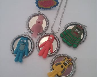 Yo Gabba Gabba Switchable Bottle Cap Character Necklace Set for Boys & Girls!