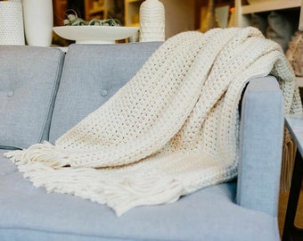 Chunky Knit Wool Throw Blanket Afghan // THE NANTUCKET - FISHERMAN - ***ready to ship***