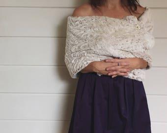 Ivory faux fur wrap shawl bridesmaids jr bridesmaids tan light brown