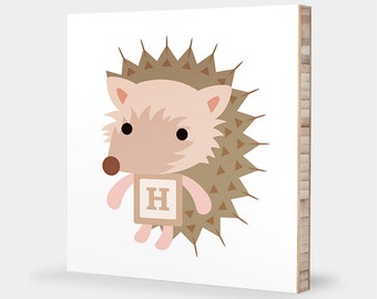 H is for Hedgehog : ABC Block Bamboo Wall Art Series // Alphabet Kids Wall Art Nursery Room Decor Animal Art Baby