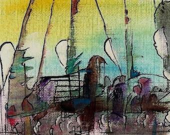 No. 50025 ACEO Art Cards Editions & Originals Fantasy Landscape by NoRaHzArT