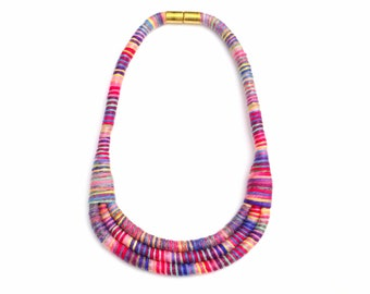 Statement Bib Necklace, Fiber Art Necklace, Colorful Fabric Cotton Rope Necklace, Modern Textile Necklace, Spring Jewelry, Gift For Her