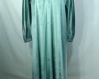 1960's Lucie Ann Maxi Full Length Velvet Velour Dress Caftan Hostess Gown Seafoam Pastel Green Applique Elegant Vintage Hollywood Regency