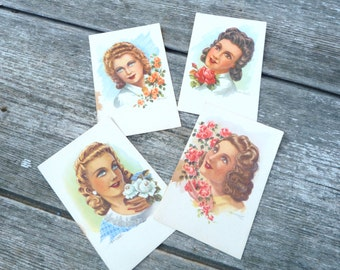 Vintage Antique 1940/1950 batch of 4 colored postcard/women portrait