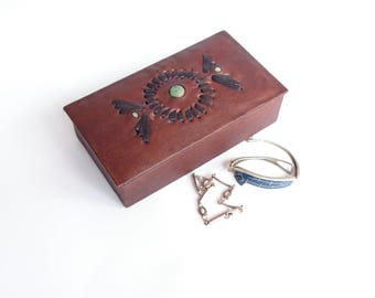 Vintage Brown Leather Jewelry Box, Old Small Jewelry Box, Gift for Her, Genuine Leather Box, Trinket Leather Box