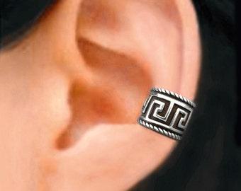 C1 -10, Greek Key ear cuff Sterling Silver earrings Greek Key jewelry Greek Key earrings Sterling silver ear cuff clip men & women C-168