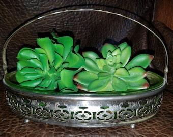 Vintage Silver Plate Candy Dish Basket Uranium Glass Succulent Planter