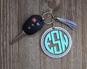 Double Circle Monogram Keychain with Tassel
