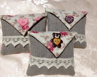 3 bags of lavender linen and cotton pattern hearts and teddy bear