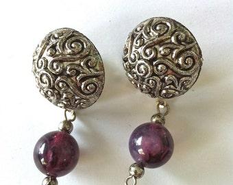Silver Design Drop Purple Bead Earrings/Light Weight Drop Earrings/Plum Colored Bead/Reto Silver Earrings/Vintage Drop Earrings/Round Studs