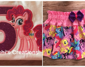 My Little Pony Outfit, My Little Pony Birthday Girl Outfit, My Little Pony Birthday Outfit, MLP Outfit, Pinky Pie Pony Birthday Outfit