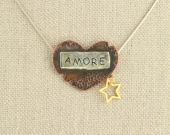 Heart Necklace Amore Love Funky Pendant Silver Gold Copper Long