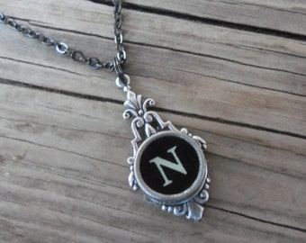 Writer Gift Idea,Initial Necklace,Typewriter Key Jewelry,Vintage Typewriter, Gift Idea For Mom, Art Deco Necklace, Letter N Necklace