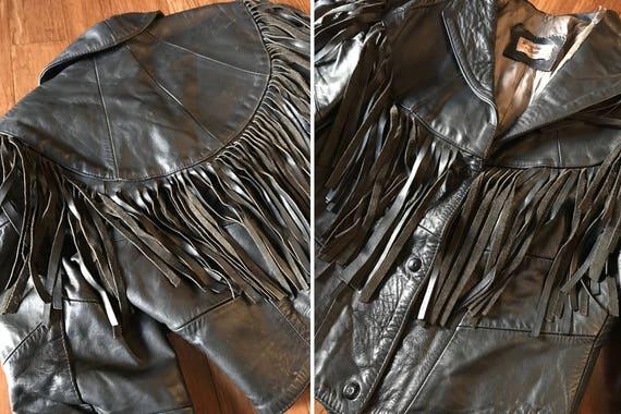 Coat Mexico Western Asymmetrical Southwestern 80s Genuine Vintage M Jacket L 70s Mexican Brown Snap Crop Button Leather Black Fringe Blazer 7OOZw65nPq