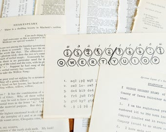 English Language oddity themed text papers, typing, shorthand + more - VINTAGE PAPER PACK - 20 original pages