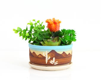 Vintage Southwestern Pottery Planter / Southwestern Planter / Boho Home Decor / Stoneware Succulent Planter / Cactus Plant Pot