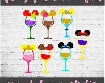 Disney Princess Wine Glasses - Disney Princesses  - Disney Trip - SVG - PNG - DXF