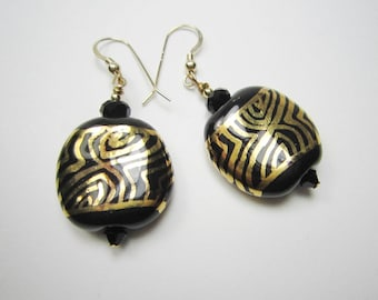 Black & Gold Kazuri Bead Earrings, 14k Gold Filled Ear Wires, African Ceramic Earrings, Hand Painted Clay Earrings, African Jewelry