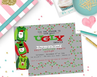Ugly Sweater Invitation, Ugly Sweater Party, Christmas Party Invitation