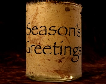 """Candle holder/ luminary """"Season's Greetings"""" with holly"""