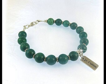 Russian Amazonite bracelets, Turquoise green bracelets, Calming gemstone jewelry, Je t'aime jewelry, Message bracelets, charm bracelets
