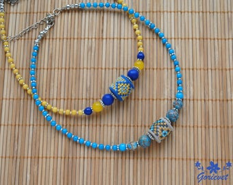 Ethnic choker necklace bead embroidery jewelry Ukrainian gift for women Ethnic jewelry lapis lazuli jewelry Agate bead necklace gift for her