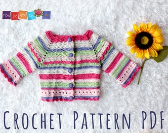 Baby Sweater Crochet Pattern, Instant Download PDF, Striped Baby Cardigan For Girl, Photo Tutorial Crochet One Piece Sweater size 3-6month