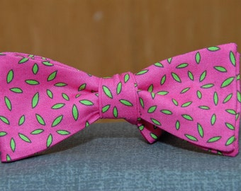 Hot Pink and Apple Green  Bow tie