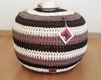 Crocheted stripe Pouf Ottoman footstool ,Chunky Knitted Footstool, Pouffe , Round Coffee Table