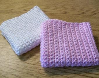 Crochet 100% Cotton Wash Cloths, Handmade Washcloth, Washcloth Set, Crochet Face Cloth