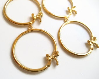 Bow Hoop Charm Bright Gold Tone Pendant Earring Finding