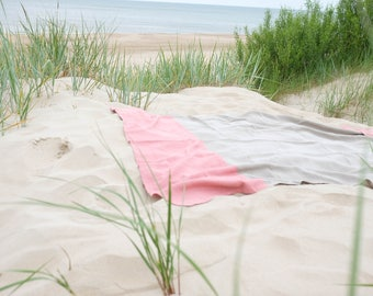 Linen Beach Blanket/ Picnic Blanket/ Summer Blanket/Natural Linen
