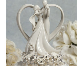 Vintage Inspired Rose Pearl and Heart Wedding Cake Topper - 101115