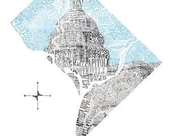 Washington D.C. Neighborhood map with Capitol Building