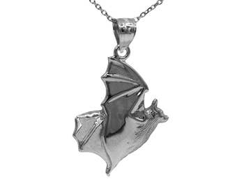 925 Sterling Silver Bat Necklace