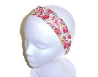 Headband, Girls or Women's Hair Accessories, Wide Reversible Summer Headband, Gift for Girls and Women, Pink and Yellow