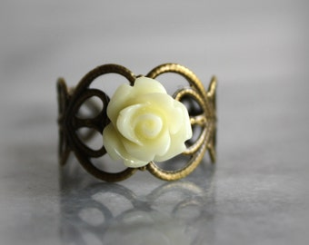 Adjustable Rose Ring, Antique Bronze, Vintage Inspired, Flower Jewelry, Gift for her by ktnunna