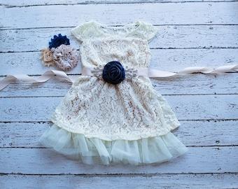Flower Girl Dresses, Navy Flower Girl Dress, Champagne Flower Girl Dress,Flower Girl Dress,Bohemian Flower Girl Dress,Champagne Boho Dress