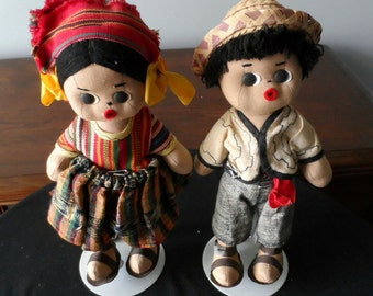 Gift for Doll Collector Pair Of Cloth Dolls South America, Central America,Male and Female  869