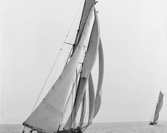 old photograph, vintage schooner, sailboat race, early 1900's, old photo, home decor, instant download, black and white, digital download,